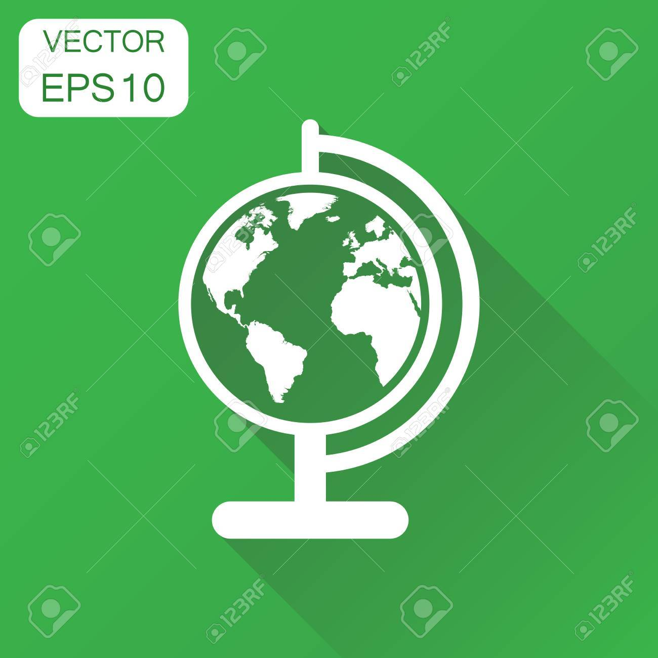 Globe World Map Icon. Business Concept Round Earth Pictogram ...