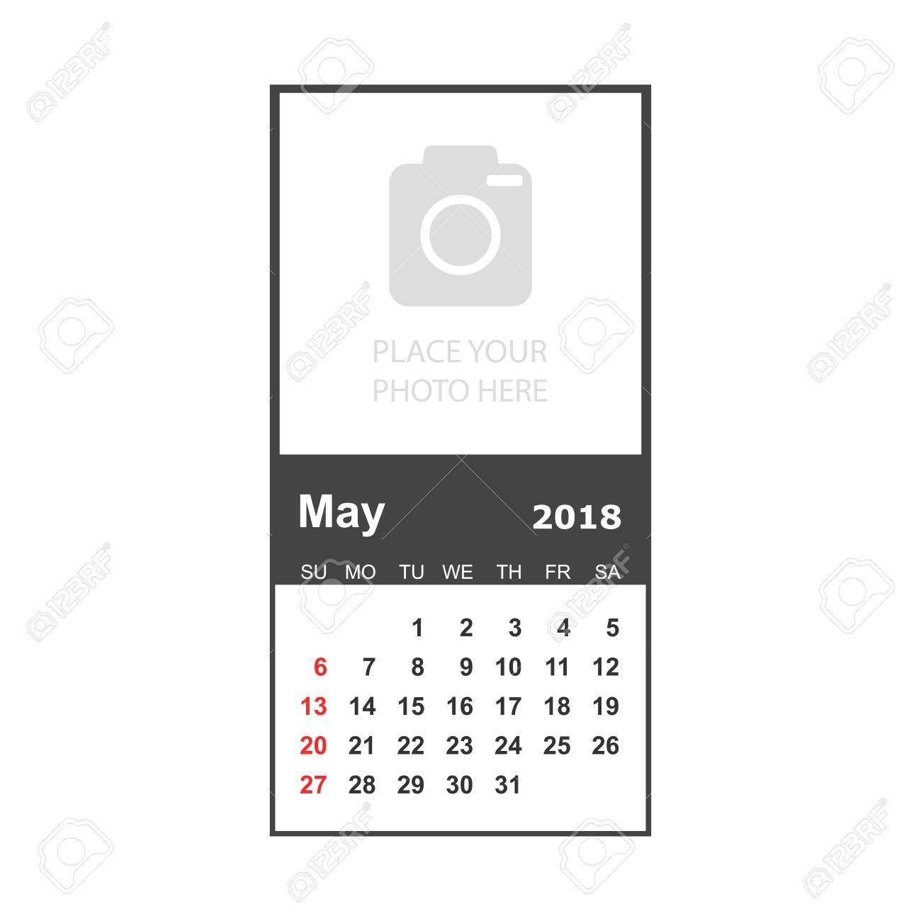 Mayo De 2018 Calendario. Plantilla De Diseño De Planificador De ...