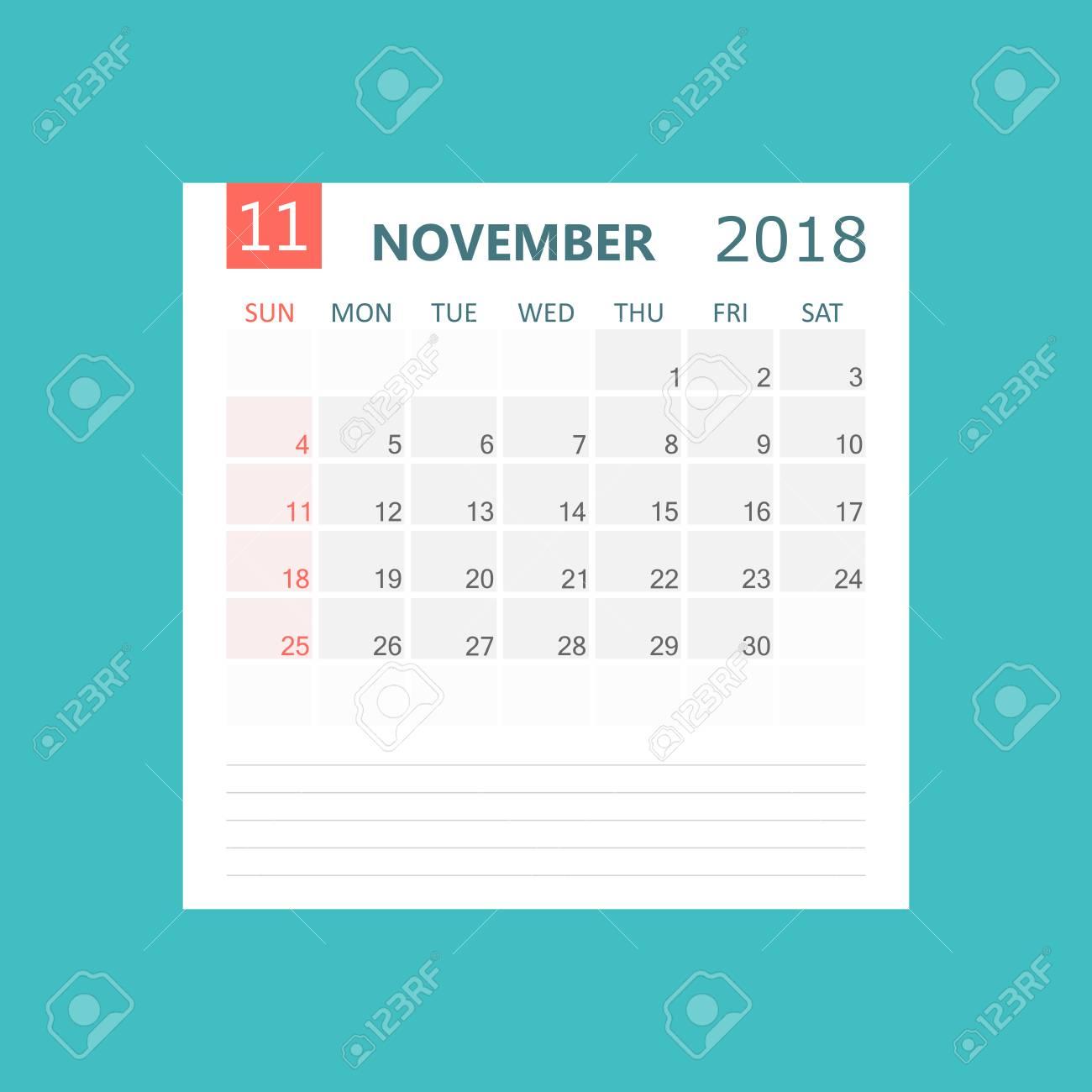 2018 年 11 月のカレンダーです カレンダー プランナーのデザイン