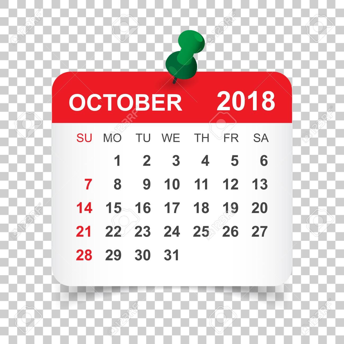 October 2018 calendar  Calendar sticker design template  Week