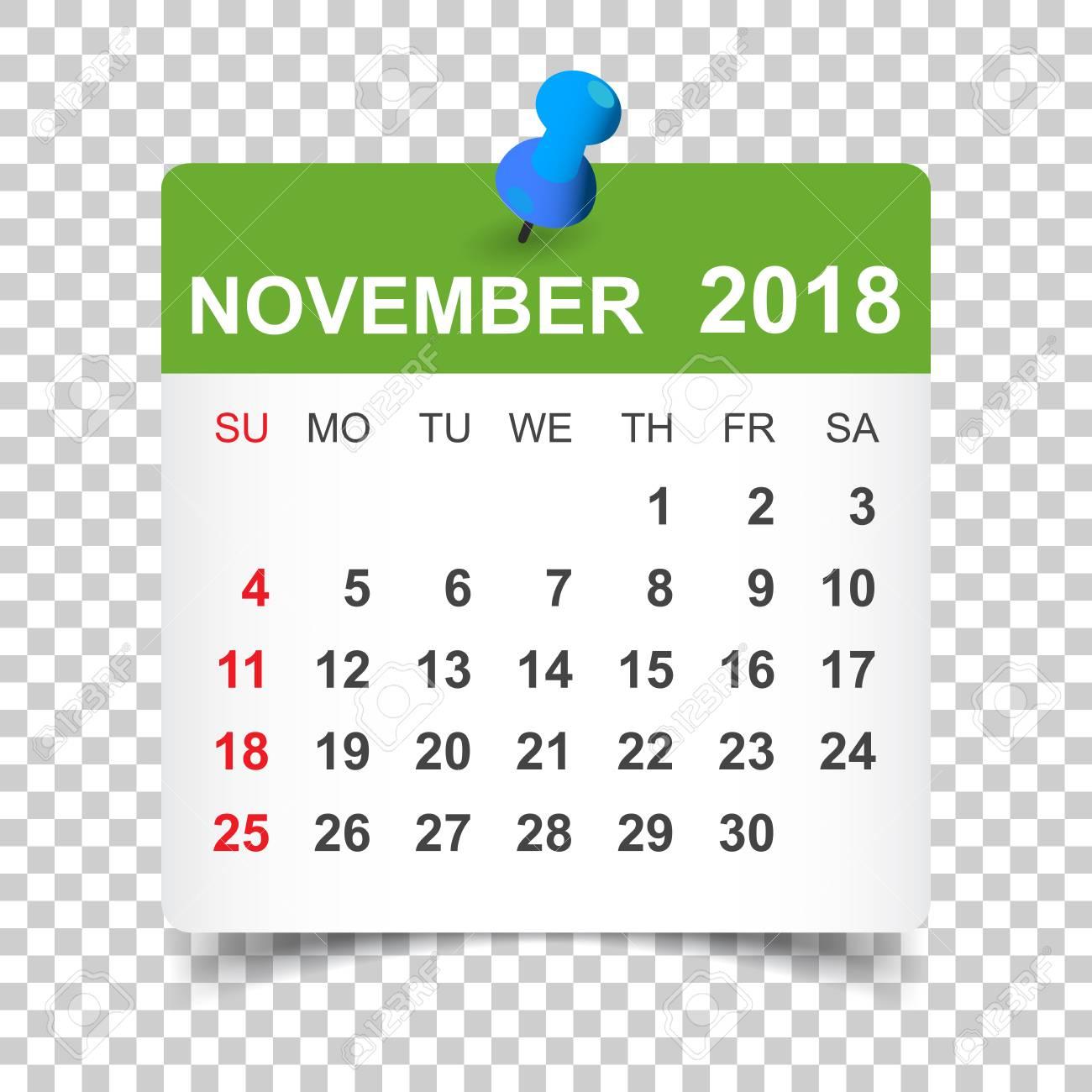 November 2018 calendar  Calendar sticker design template  Week