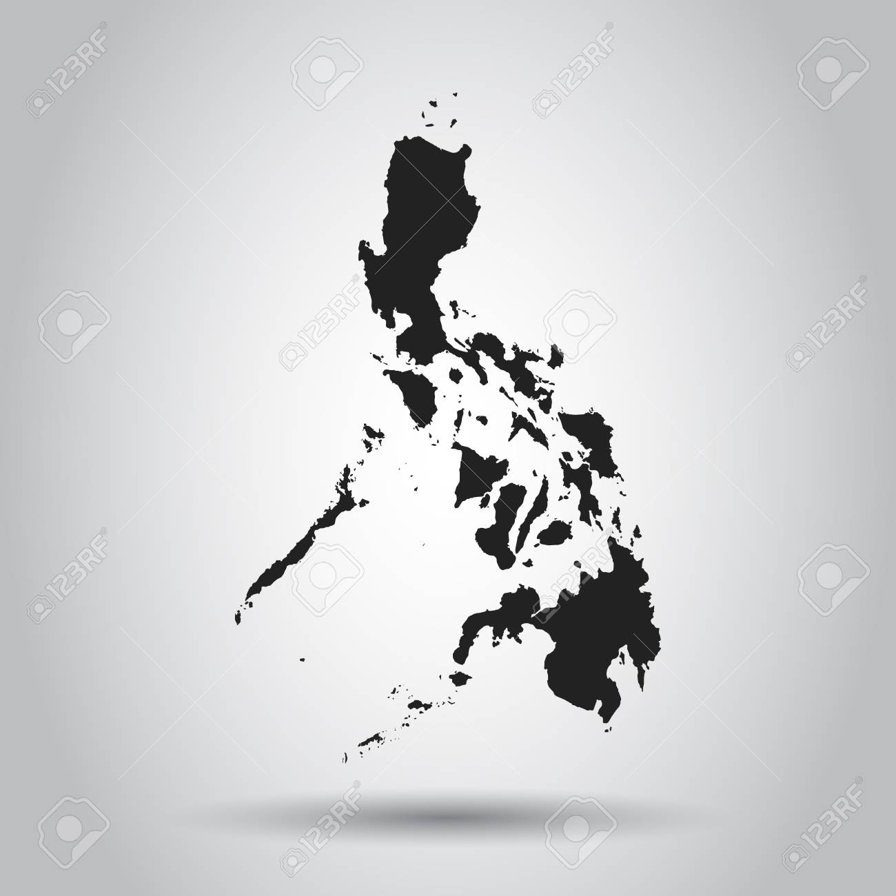 Philippines Map Black And White.Philippines Vector Map Black Icon On White Background Royalty Free