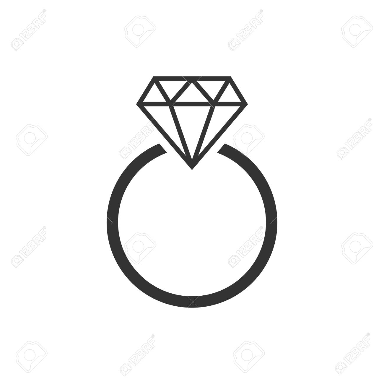 Engagement Ring With Diamond Vector Icon In Flat Style Wedding Royalty Free Cliparts Vectors And Stock Illustration Image 99400619