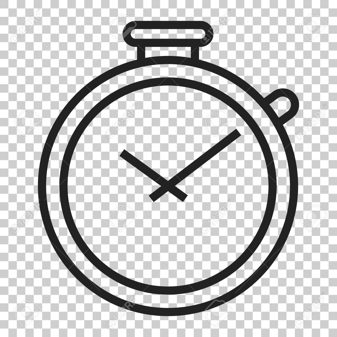 Clock timer icon in flat style  Time alarm illustration on isolated