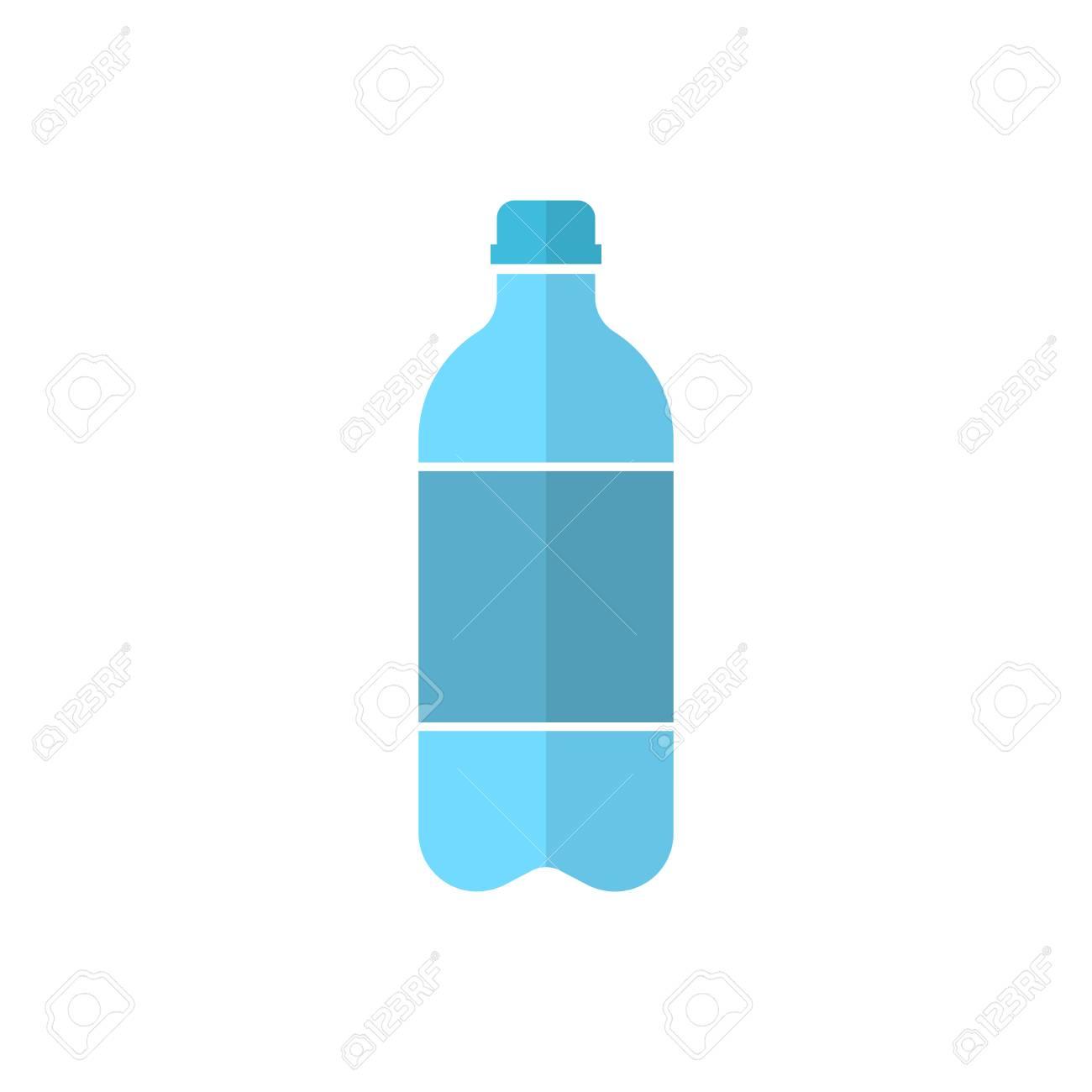 Flat Water Bottle >> Water Bottle Icon In Flat Style Plastic Soda Bottle Vector