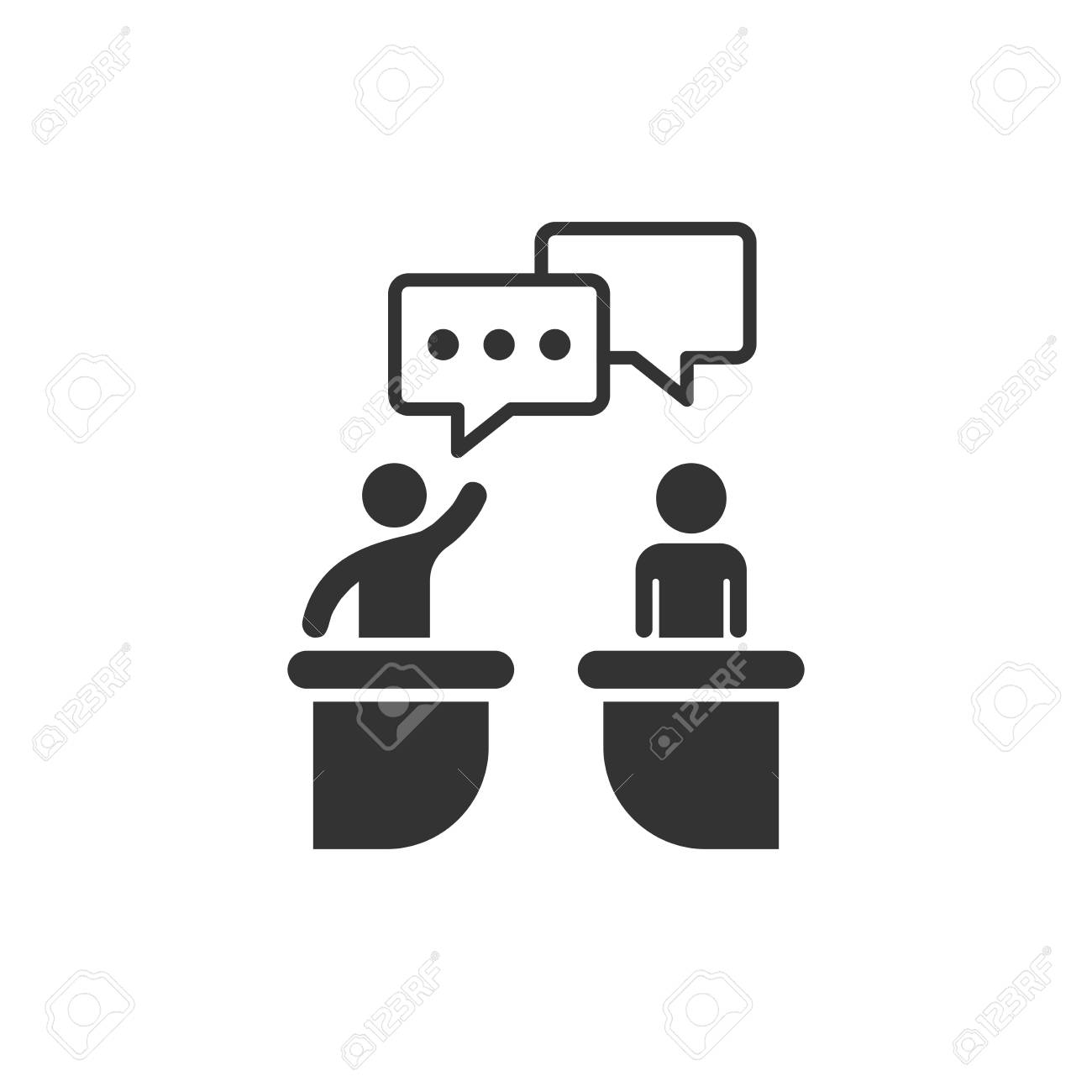 Politic debate icon in flat style. Presidential debates vector illustration on white isolated background. Businessman discussion business concept. - 110122317