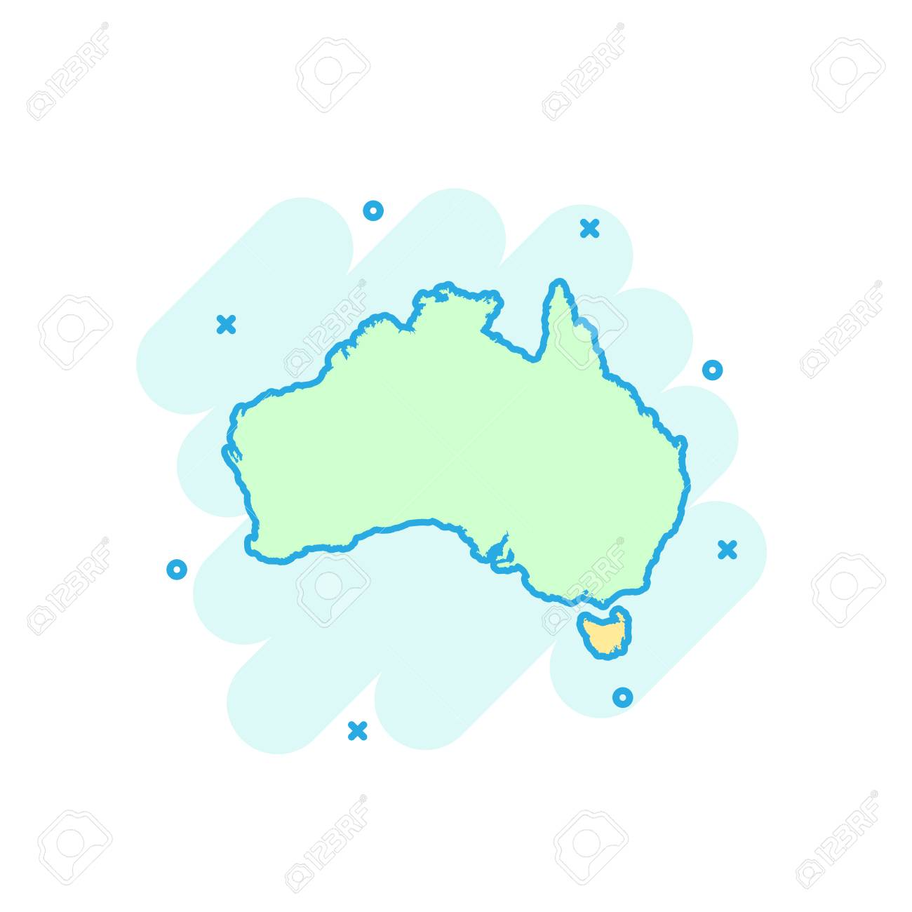 Australia Map Clipart.Cartoon Colored Australia Map Icon In Comic Style Australia