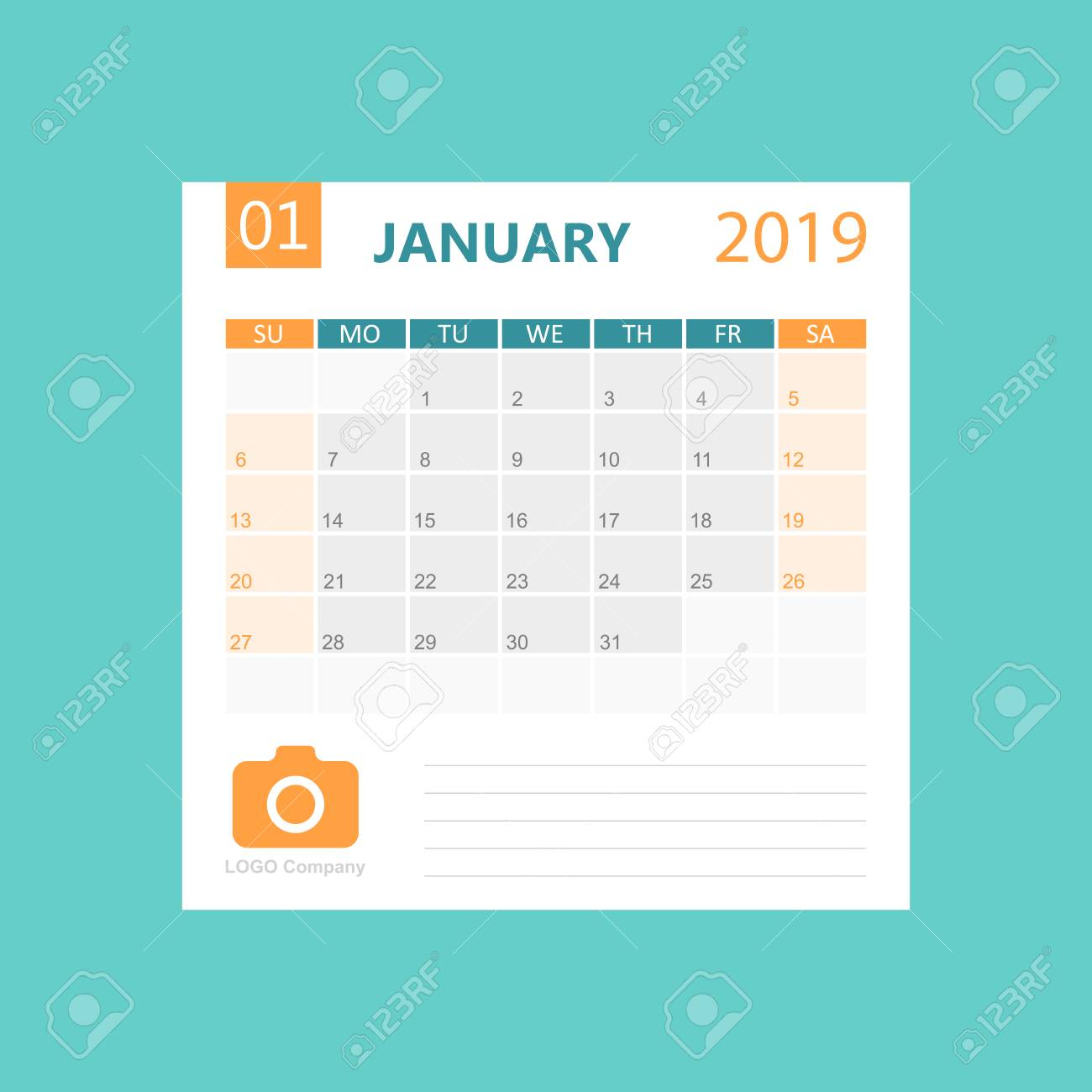 Vector Monthly Desk Pad Calendar, January 2019? December 2019. Calendar  planner with to-do list and place for notes. Clipart | k61743244 |  Fotosearch