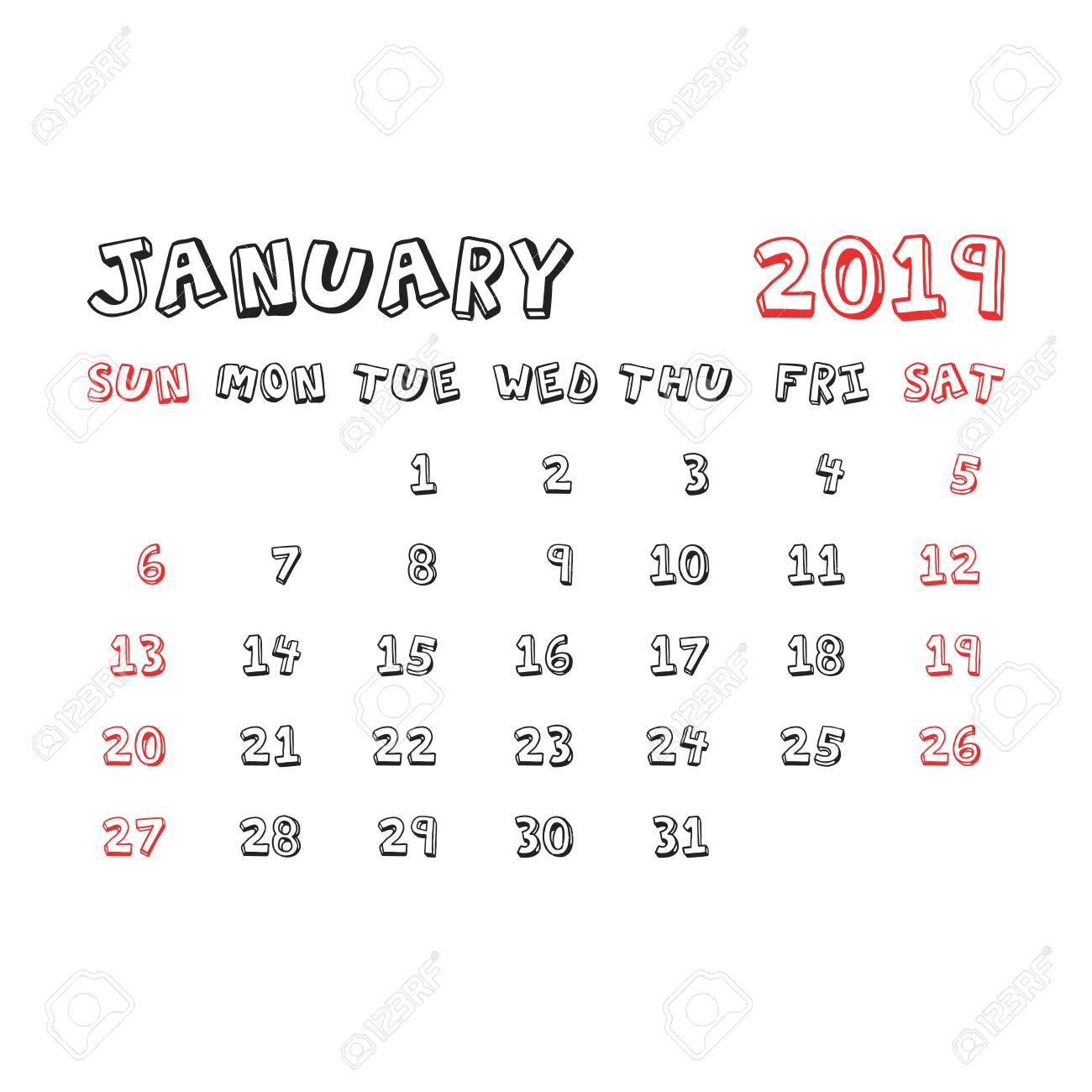 Calendar January 2019 Year In Cartoon Child Style Calendar Planner