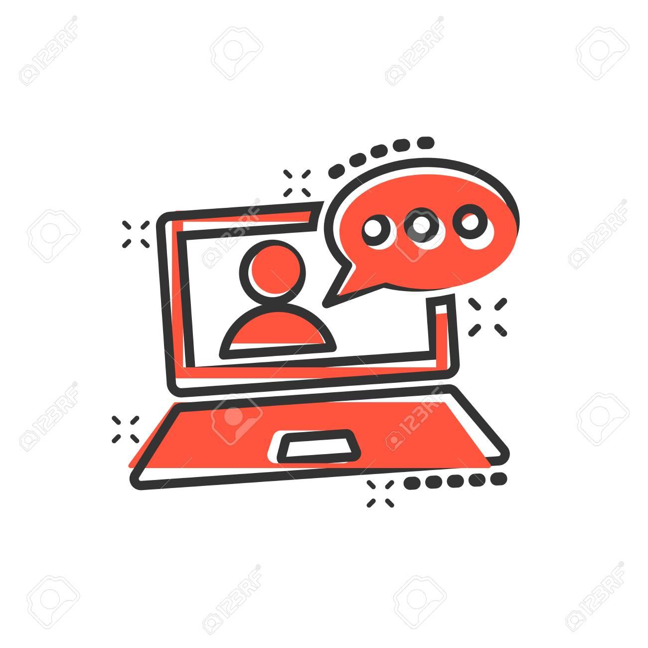 Online training process icon in comic style webinar seminar vector cartoon illustration pictogram e