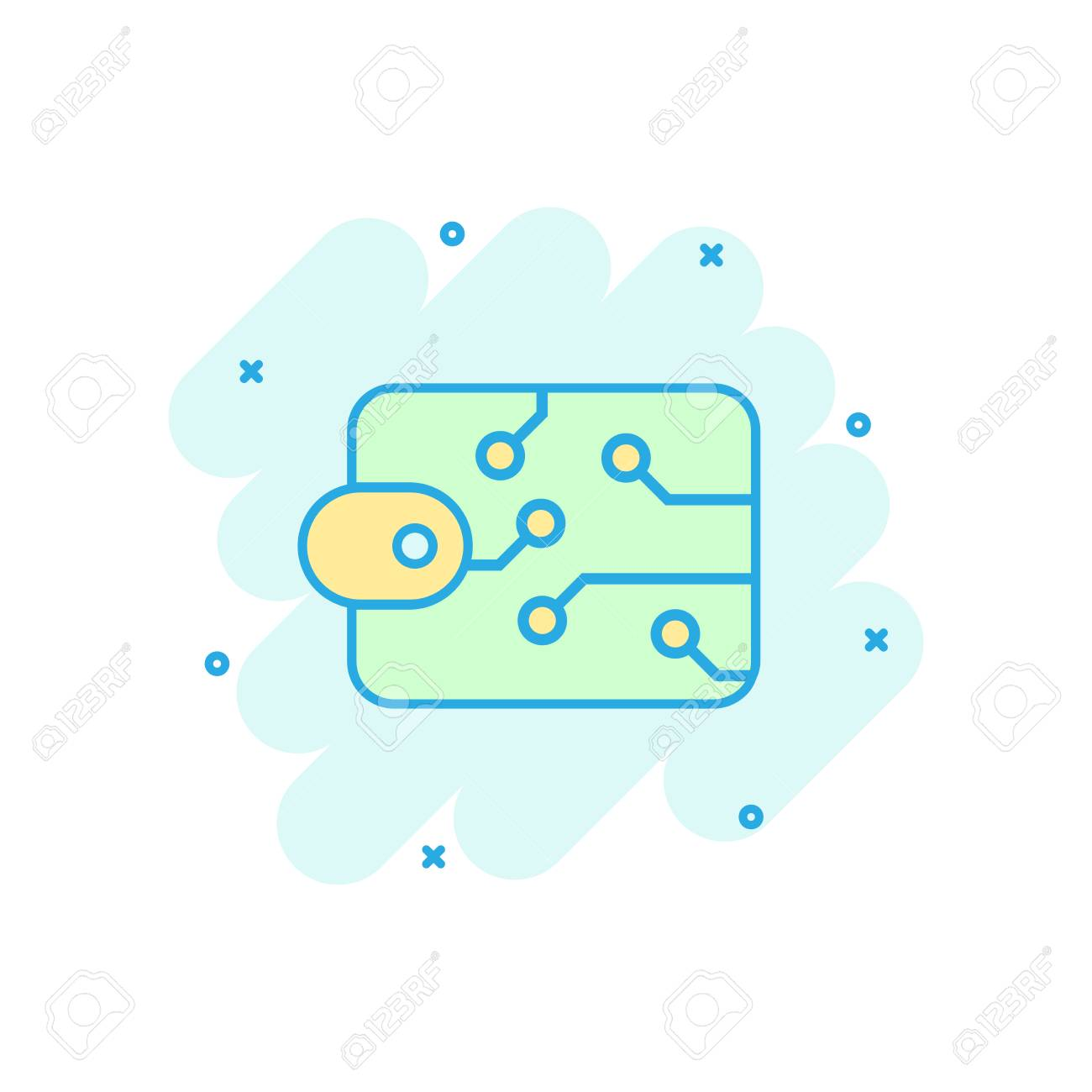 Digital wallet icon in comic style crypto bag vector cartoon illustration pictogram online finance