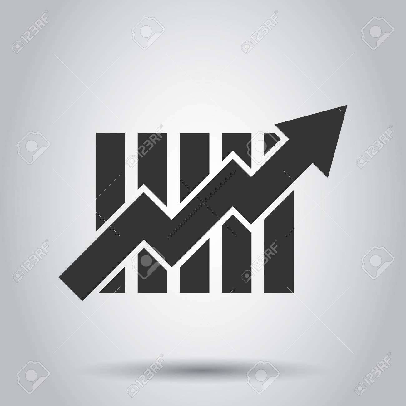 Growing bar graph icon in flat style. Increase arrow vector illustration on white background. Infographic progress business concept. - 125239887