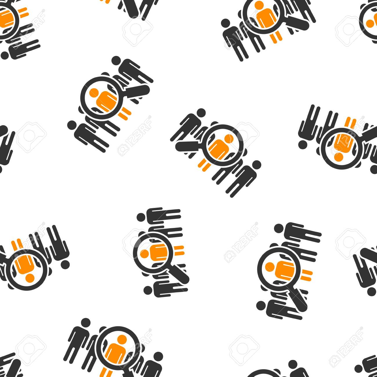Search job vacancy icon seamless pattern background. Loupe career vector illustration on white isolated background. Find employer business concept. - 126361733