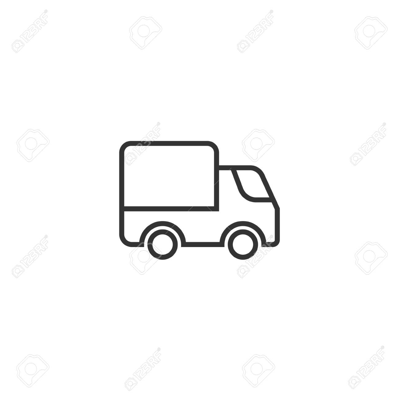 Delivery truck icon in flat style. Van vector illustration on white isolated background. Cargo car business concept. - 136469652