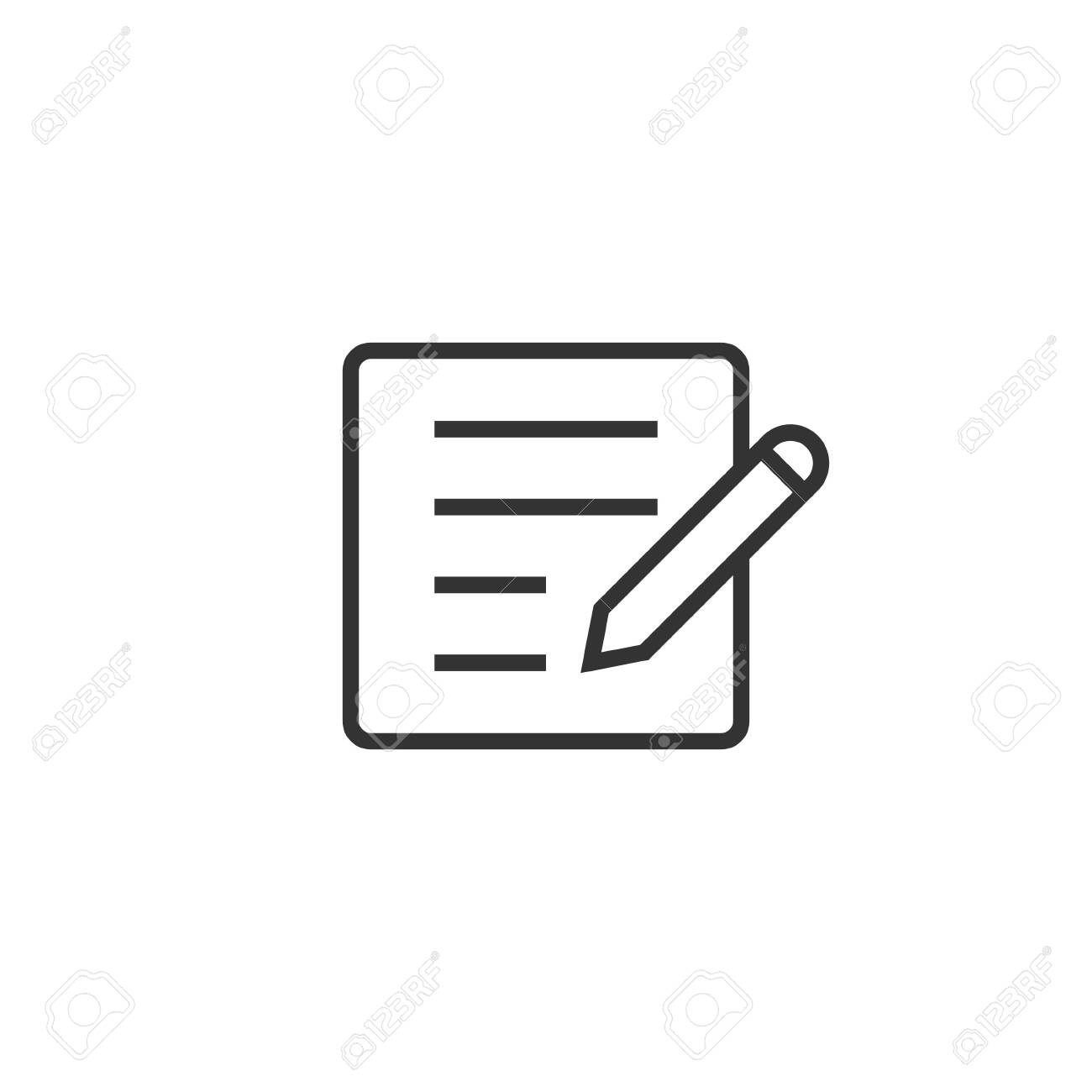 Blogging icon in flat style. Document with pen vector illustration on white isolated background. Content business concept. - 136983252