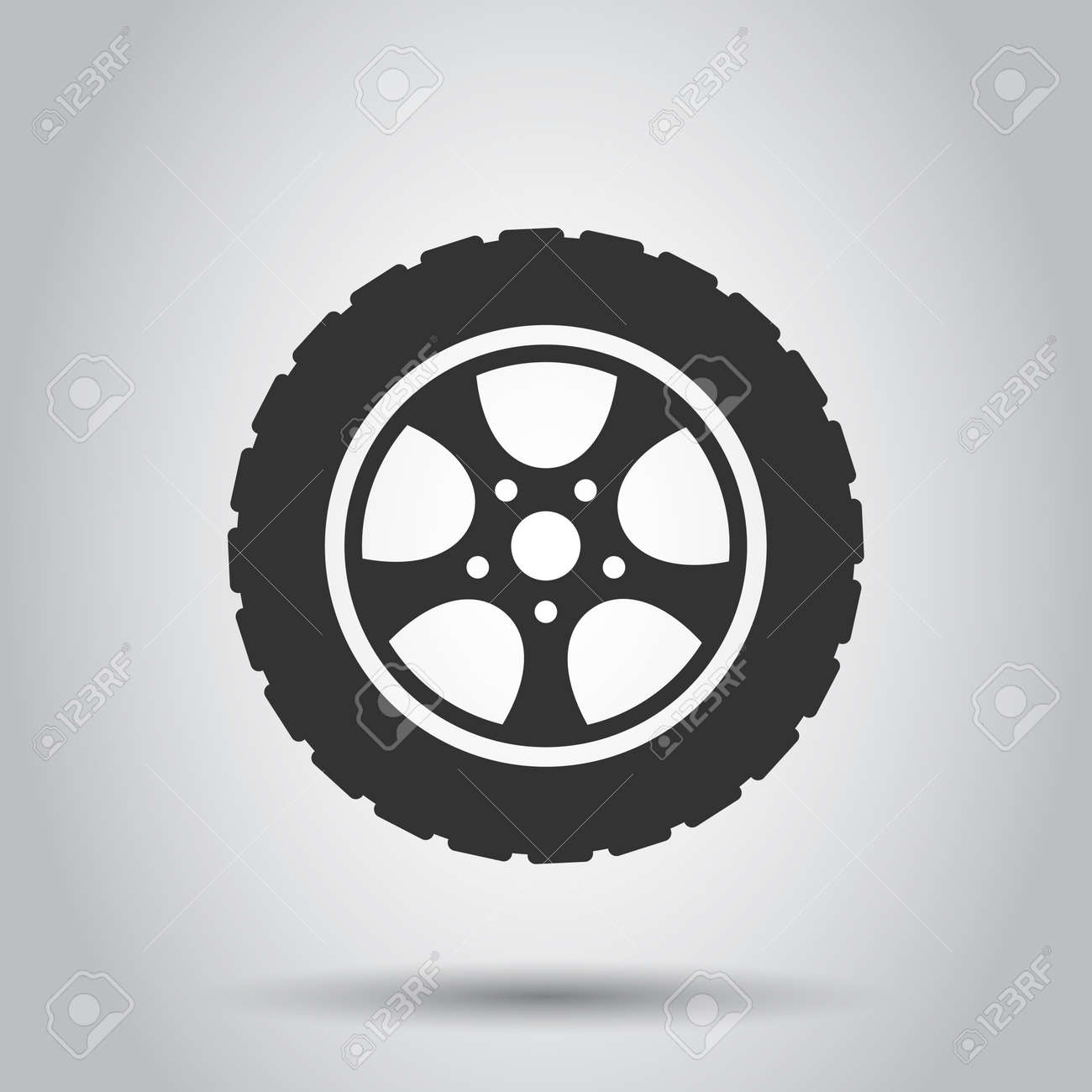 Car wheel icon in flat style. Vehicle part vector illustration on white isolated background. Tyre business concept. - 154465148