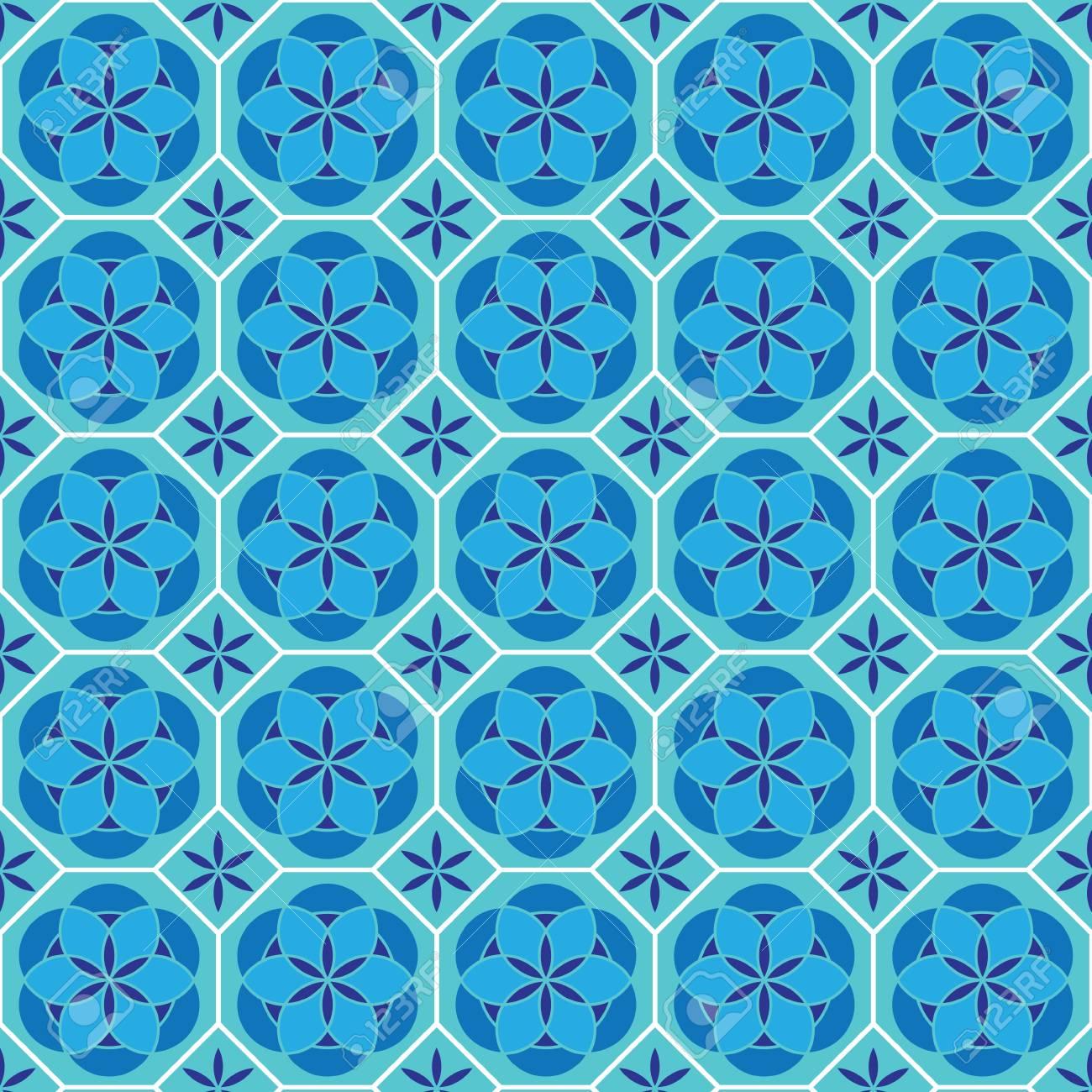 Pattern In Mosaic Vector Background Illustration Ceramic Tiles ...