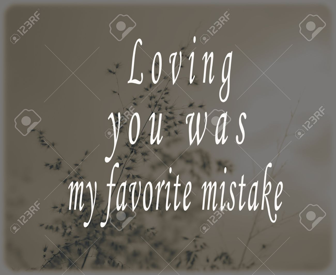 Inspirational Quote   Loving You Was My Favorite Mistake. Stock Photo    49751148
