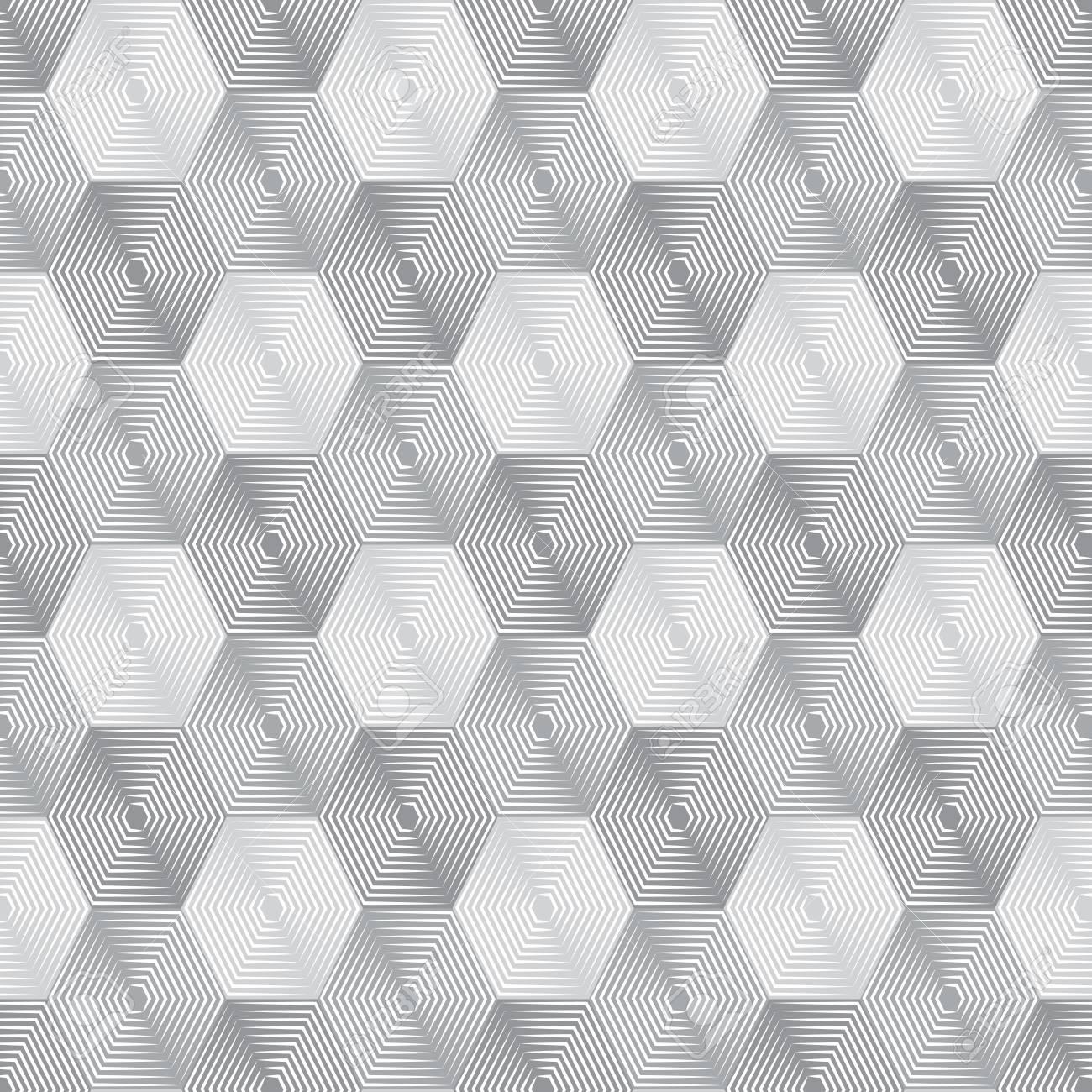 Ornamento Geométrico De Repetición Del Vector Con Hexágonos De Línea ...