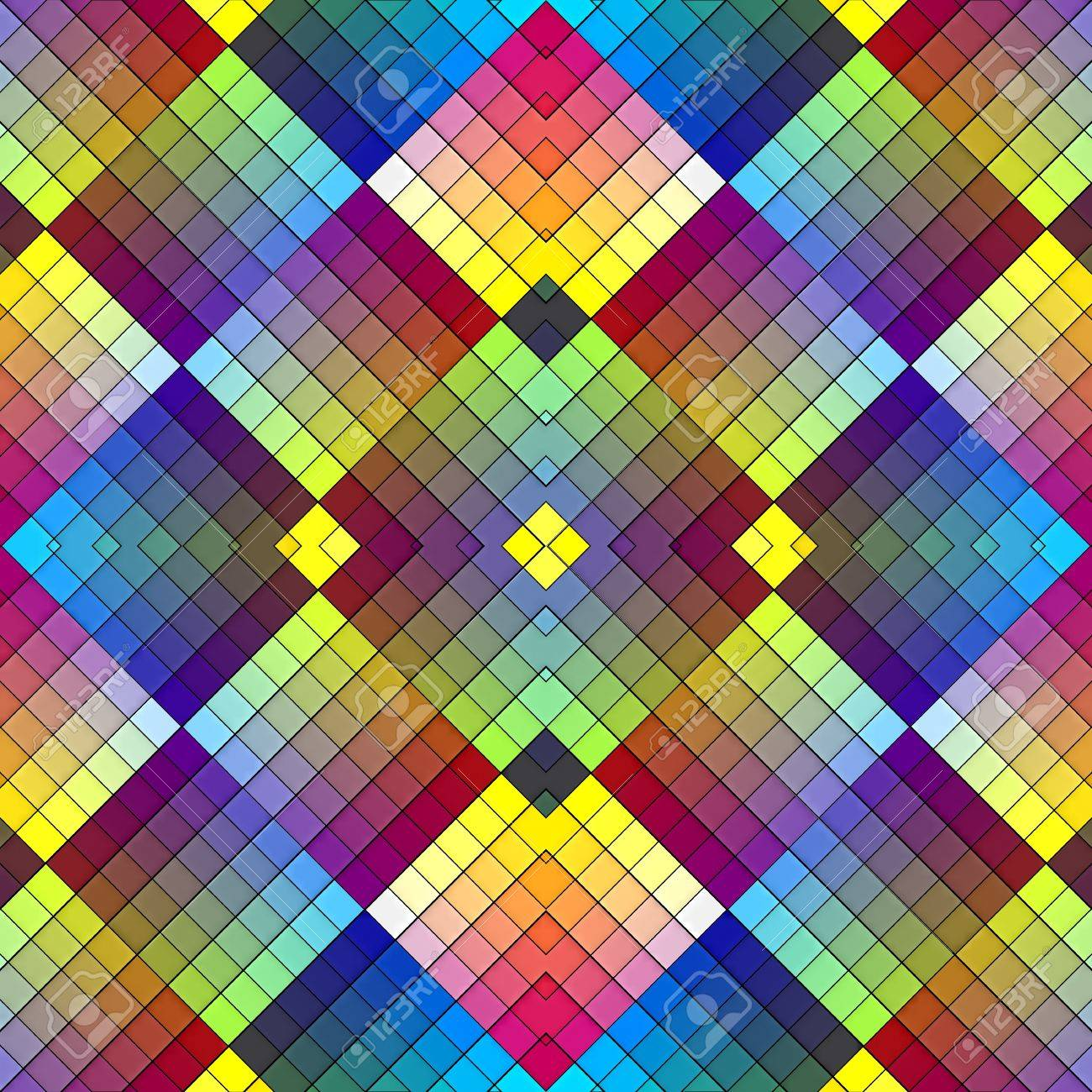 Art deco mosaic tile in retro style. Seamless pattern in vivid rainbow colors for wallpaper, decoration, stain glass Stock Photo - 12835947