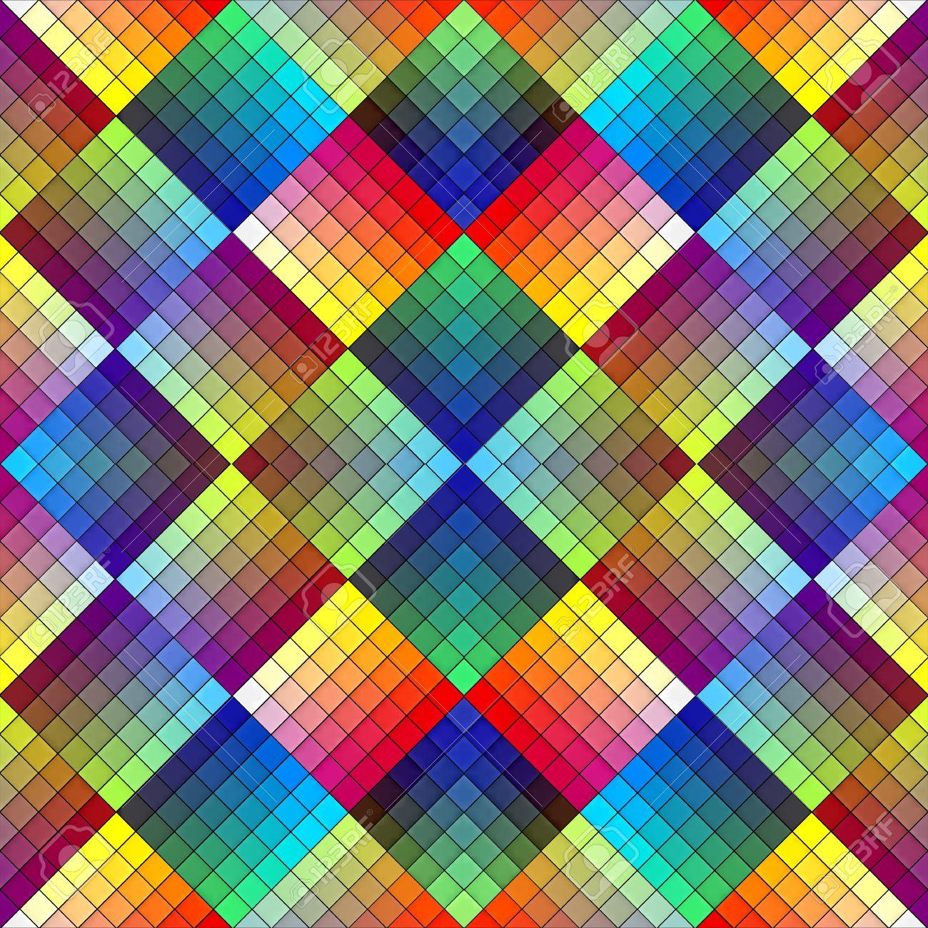 Art Deco Mosaic Tile In Retro Style Seamless Pattern In Vivid - Art deco mosaic tile patterns