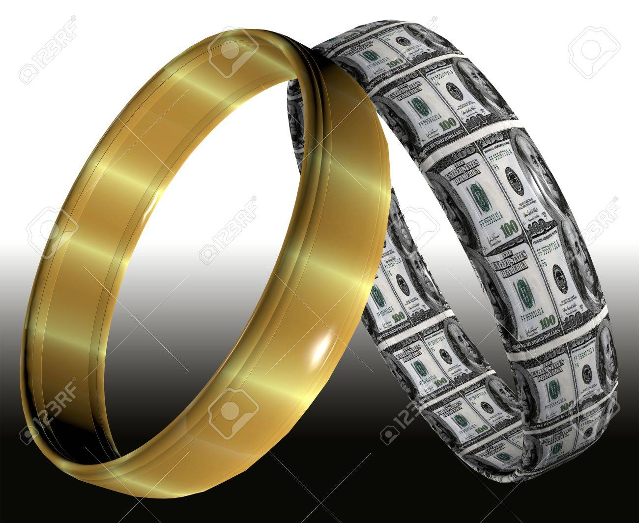 Stock Photo  Two Different Wedding Rings Symbolizing Prenuptial Contracts  And Agreements On The Consequences Of Divorce