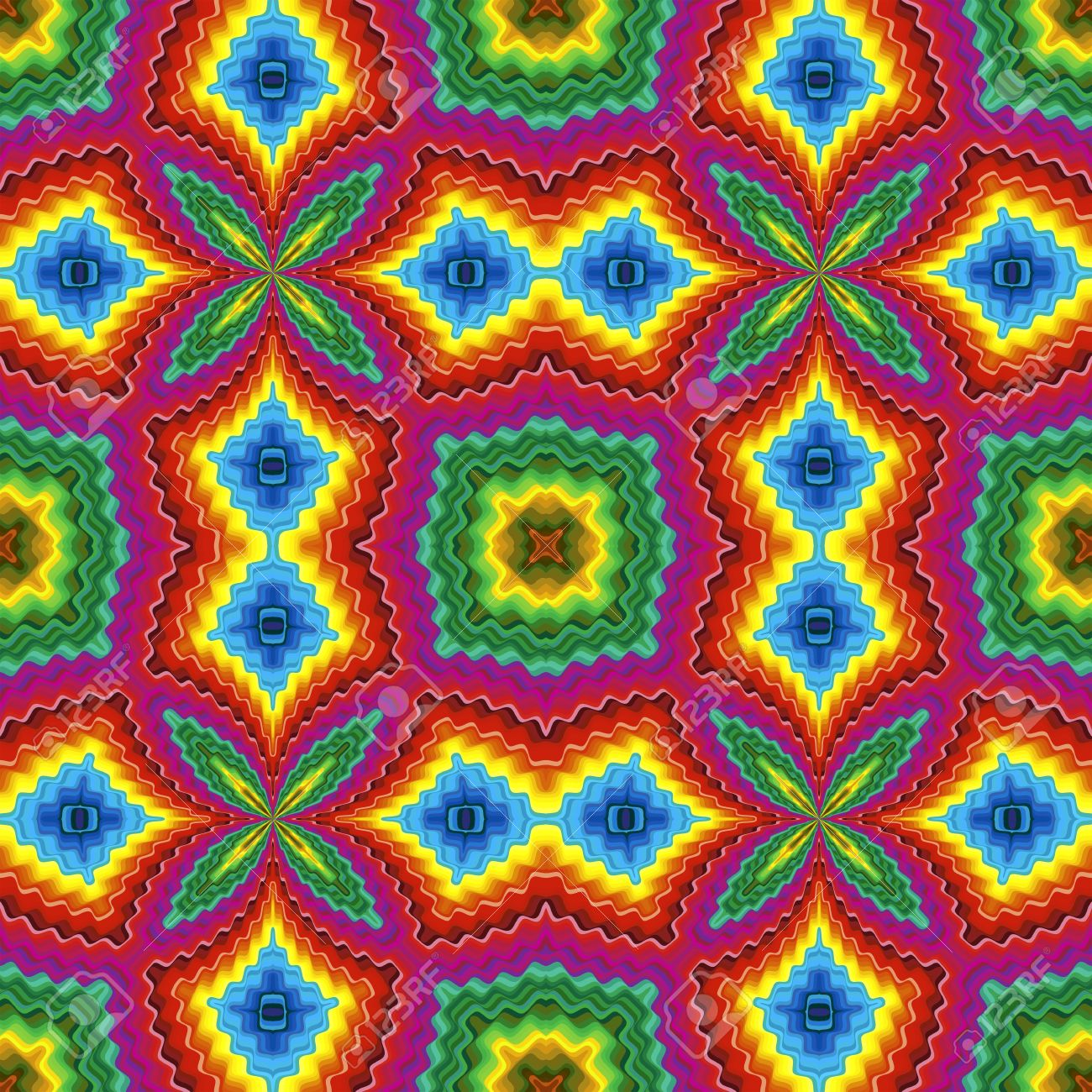 Pop art disco pattern with optic illusion and floral elements in vivid colors Stock Photo - 13614671