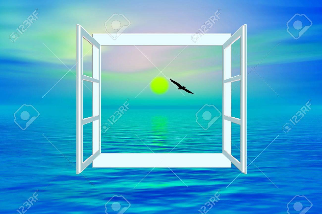 Blick aus dem fenster meer  Das Heil, Blick Aufs Meer Durch Das Offene Fenster Symbol Für Den ...