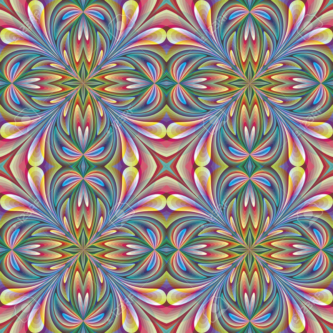 Floral Design In Art Nouveau Style Seamless Pattern With Historic Motifs Vivid Rainbow Colors