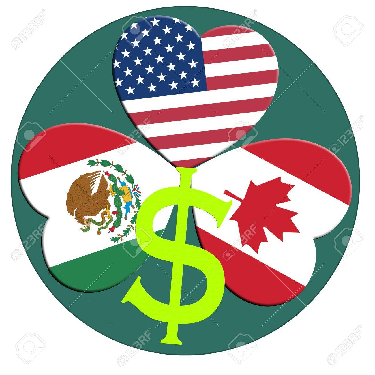 NAFTA, North American Free Trade Agreement between Canada, Mexico, USA Stock Photo - 17031528