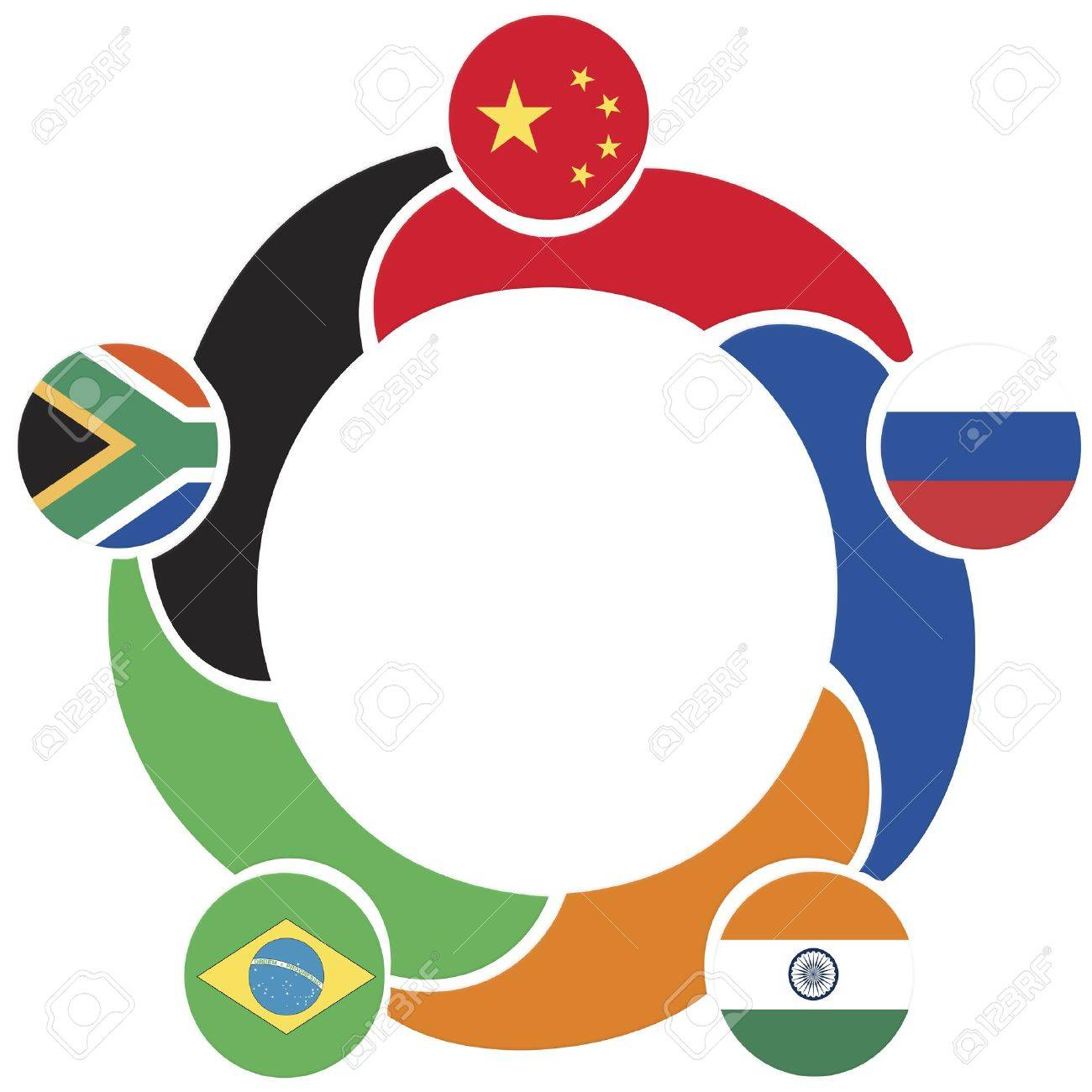 BRICS, the association of emerging national economies, Brazil, Russia, India, China, South Africa Stock Photo - 18982336