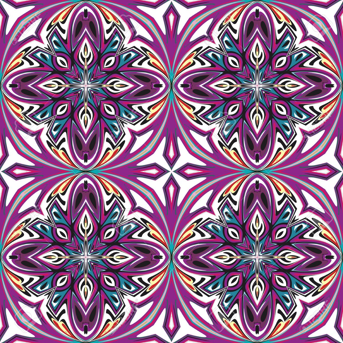 Art Nouveau Tile, Seamless Artistic Vector Pattern With Historic ...
