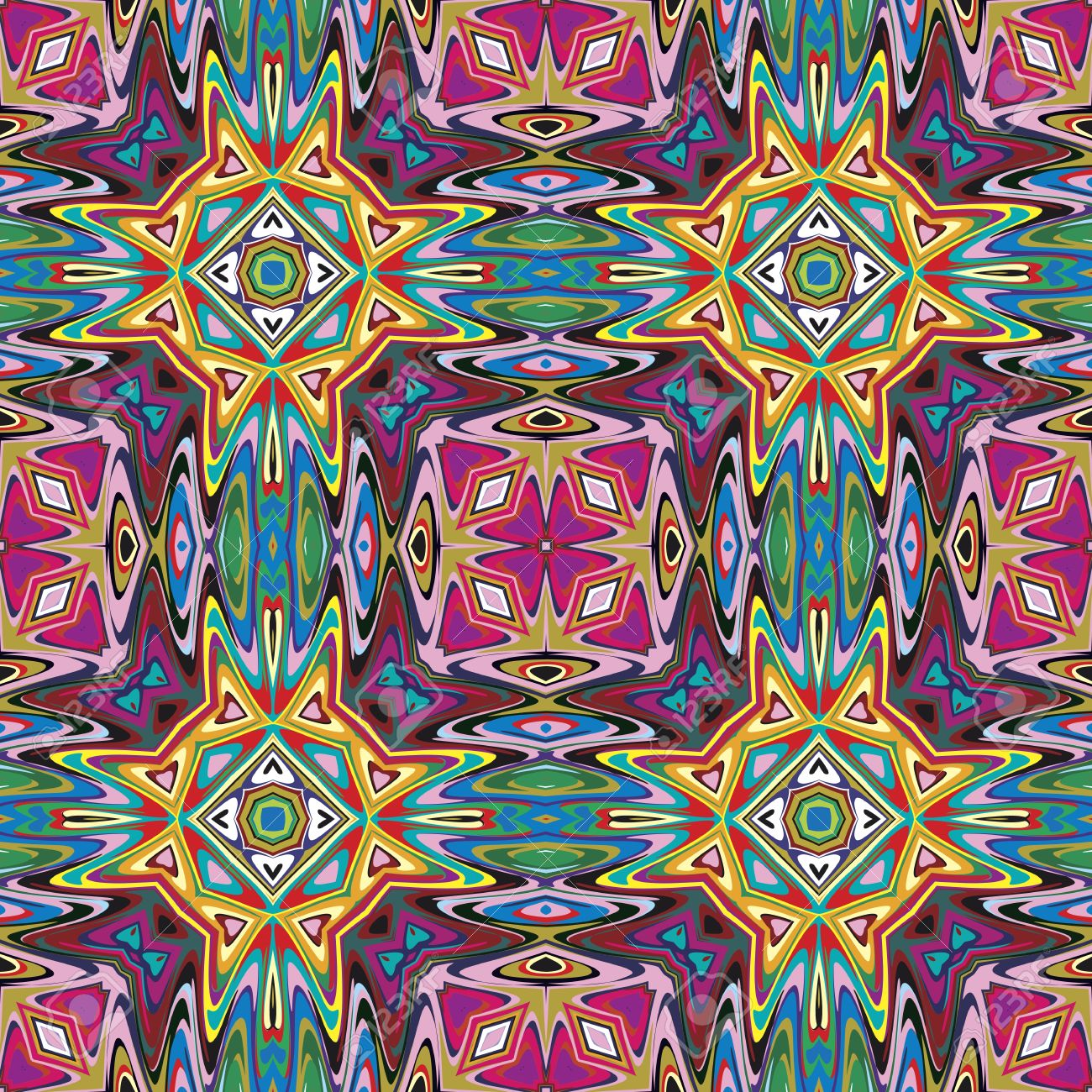Modern Mexican textile design Seamless vector pattern inspired by ancient motifs from Incas, Aztec in contemporary design and brilliant colors - 20824338