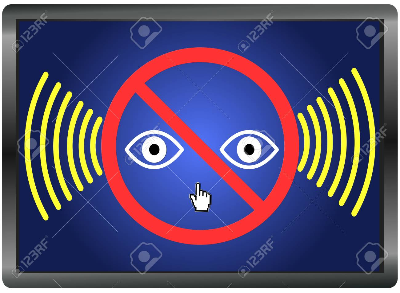Stop watching us  Privacy at stake through espionage and surveillance Stock Photo - 23328148