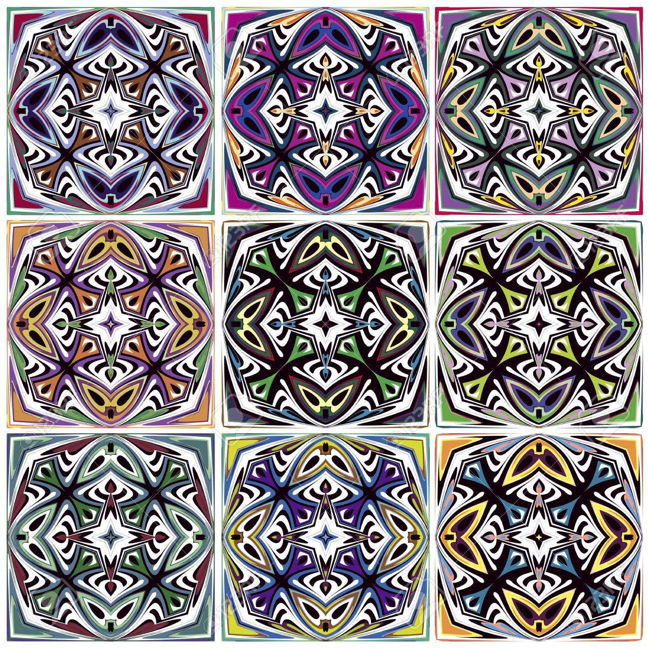 Set Of Seamless Native American Patterns With Spiritual Symbols