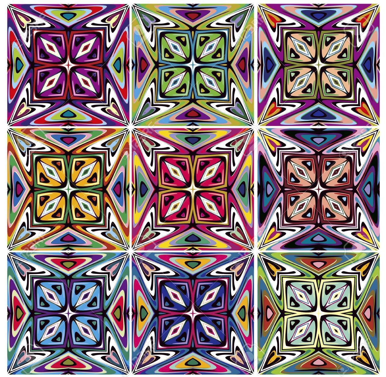 Set Of Seamless Native American Patterns With Spiritual Symbols In