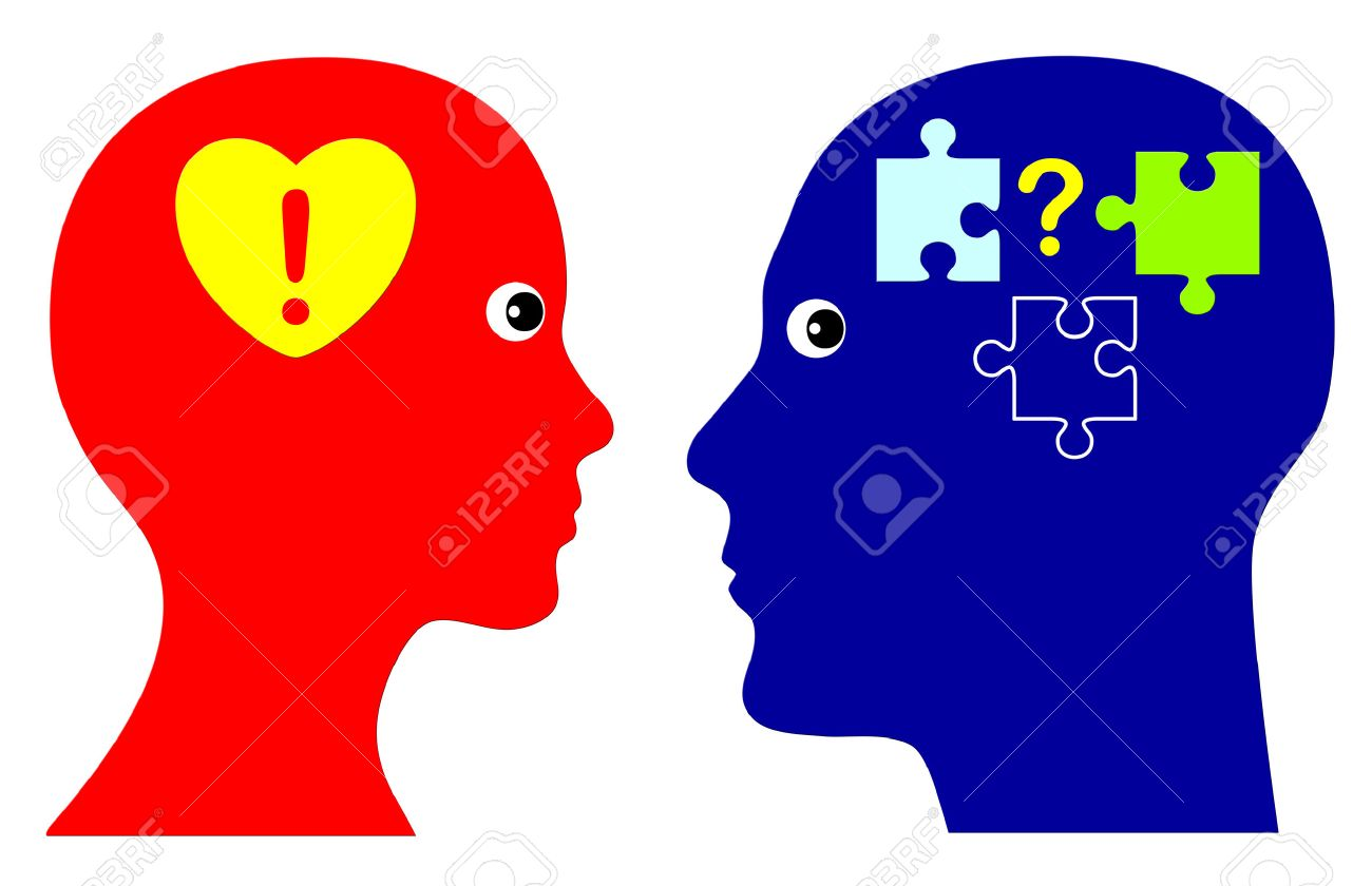 With Heart and Mind Concept of emotional and rational intelligence as successful strategy in personal life and in business - 30817643