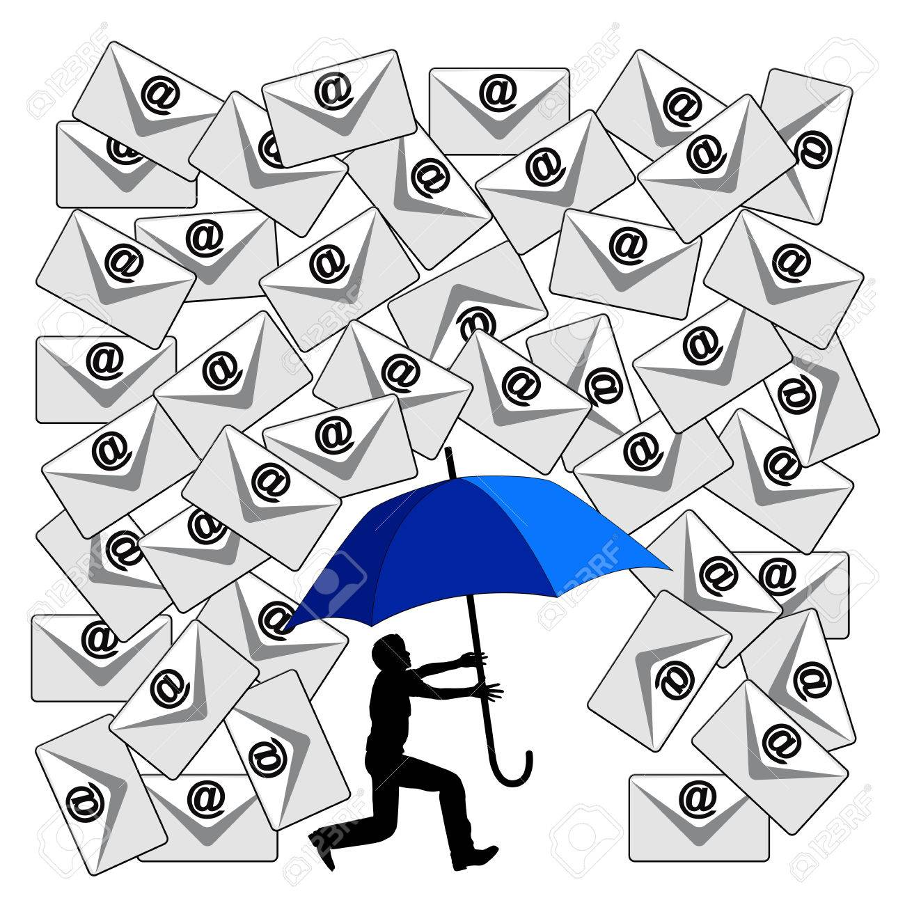 Fighting the Email Flood. Humorous concept sign of the daily flood of e-mails at the workplace or in social media - 35283035