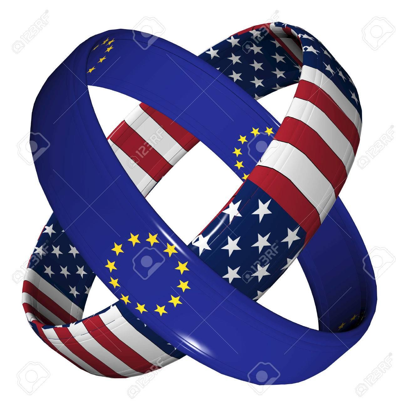 Trade Agreement Usa And Eu Symbol For The Transatlantic Trade