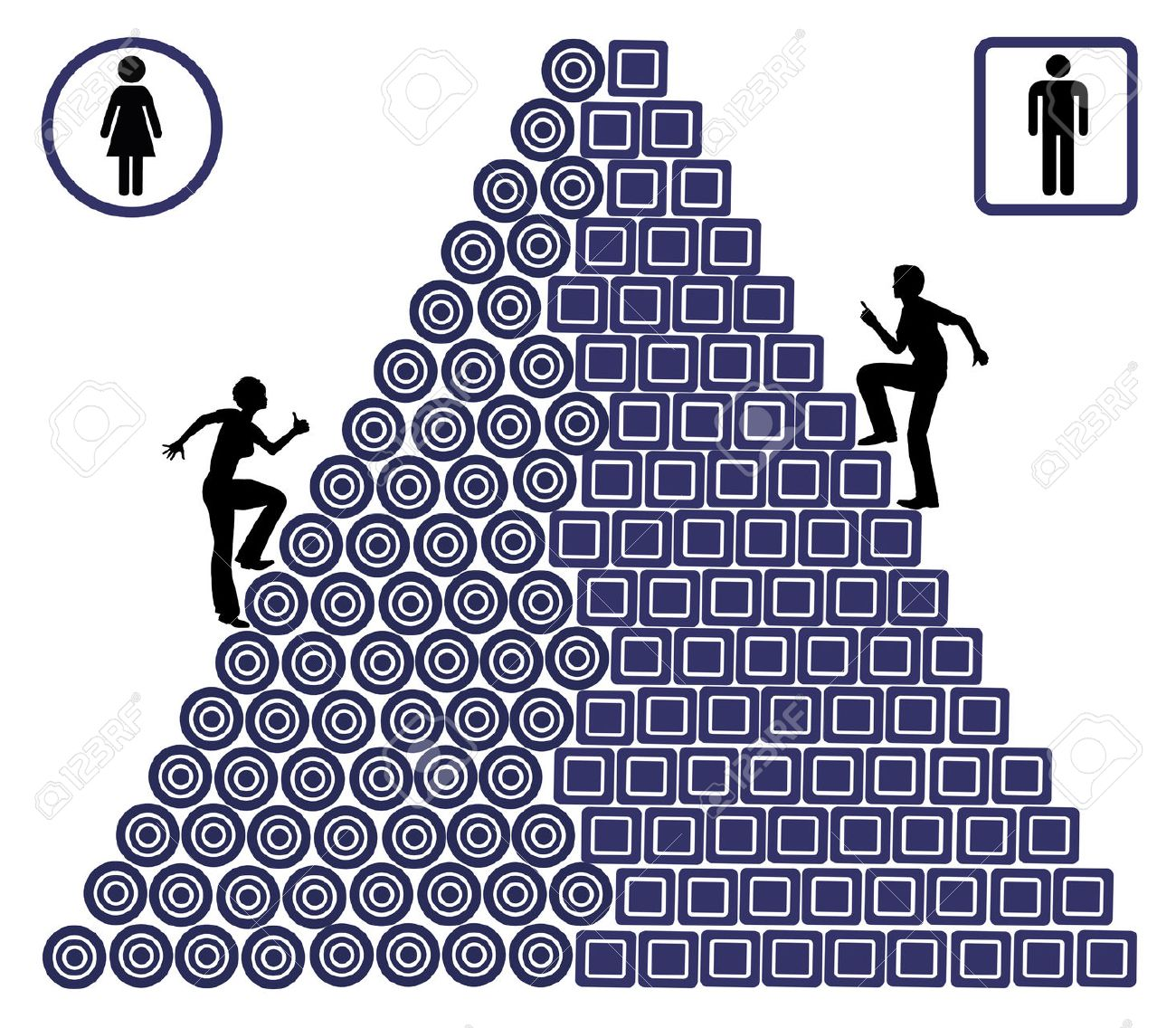 Gender Career Gap. Woman have to struggle far more than men at their workplace suffering unequal chances - 39788236