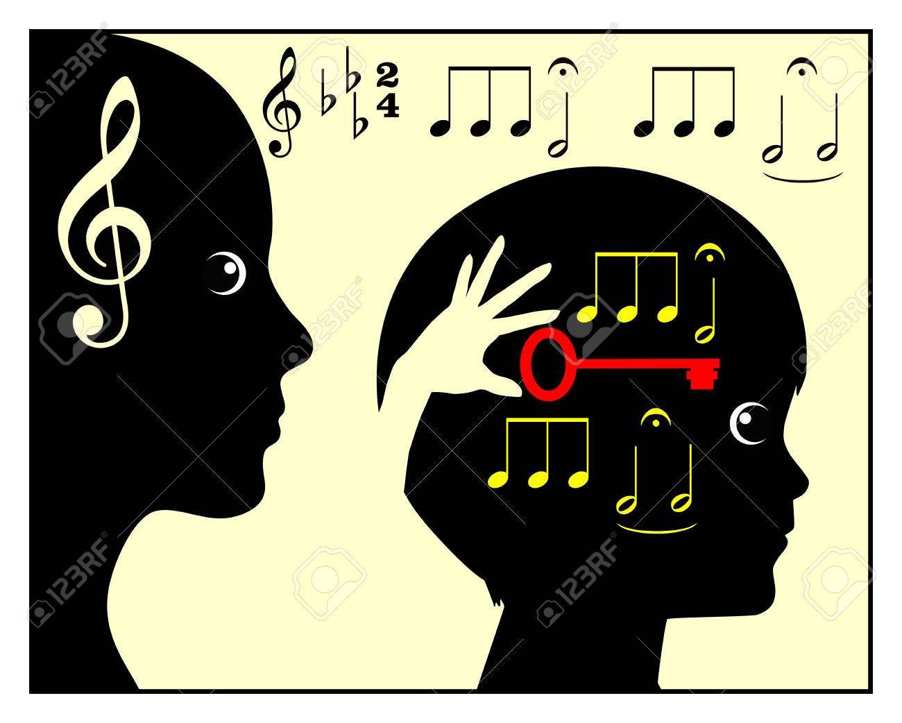 Childhood Music Education. Concept sign of mother or teacher teaching a child in classical music - 40614886