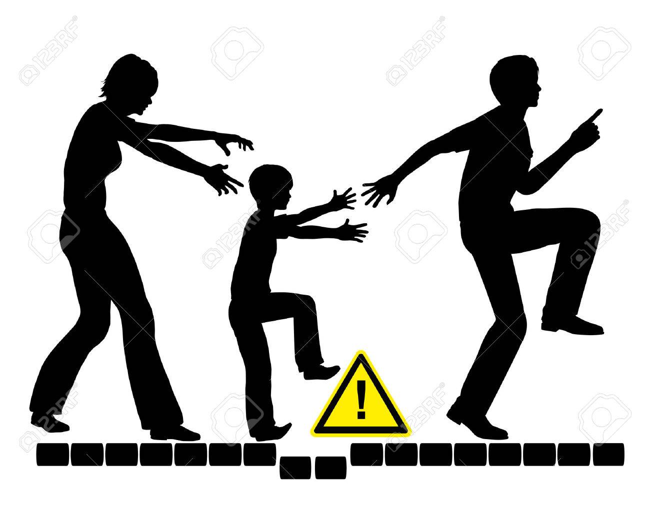 Overparenting Child. Concept sign of overprotective and anxious parents trying to safeguard her child - 40935056