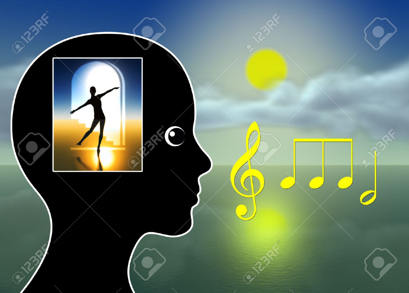 Healing Music. Music therapy for relaxation, meditation, stress reduction, pain management or just to tickle fantasy Stock Photo - 43398652
