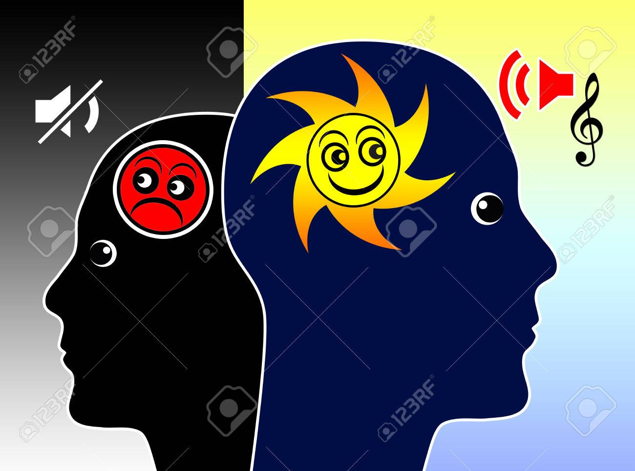 How Music Affects our mood. Concept sign for the power of music on the human soul and brain - 44062223