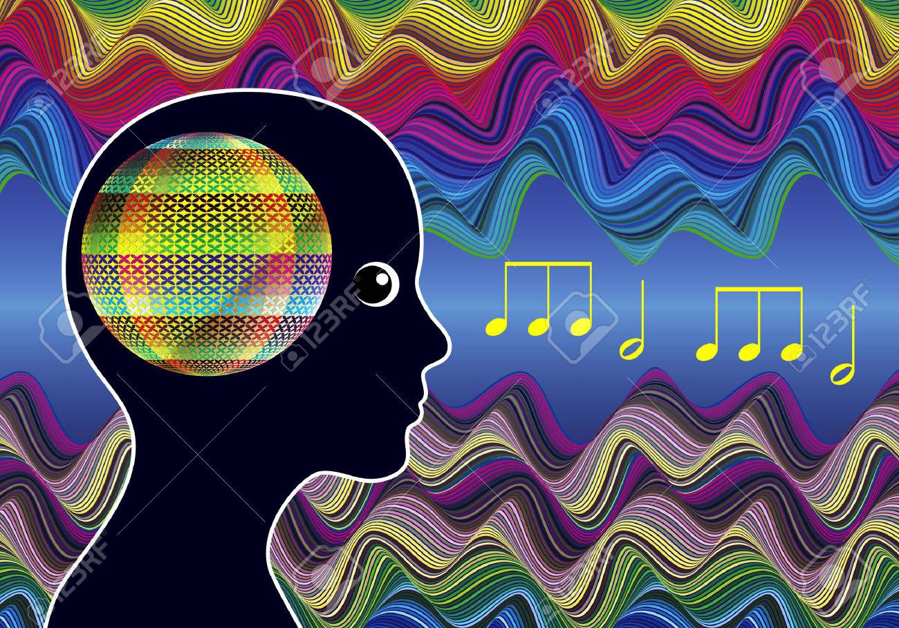 Mind Expanding Music. Woman listens to Healing Sounds expanding her consciousness - 49648533