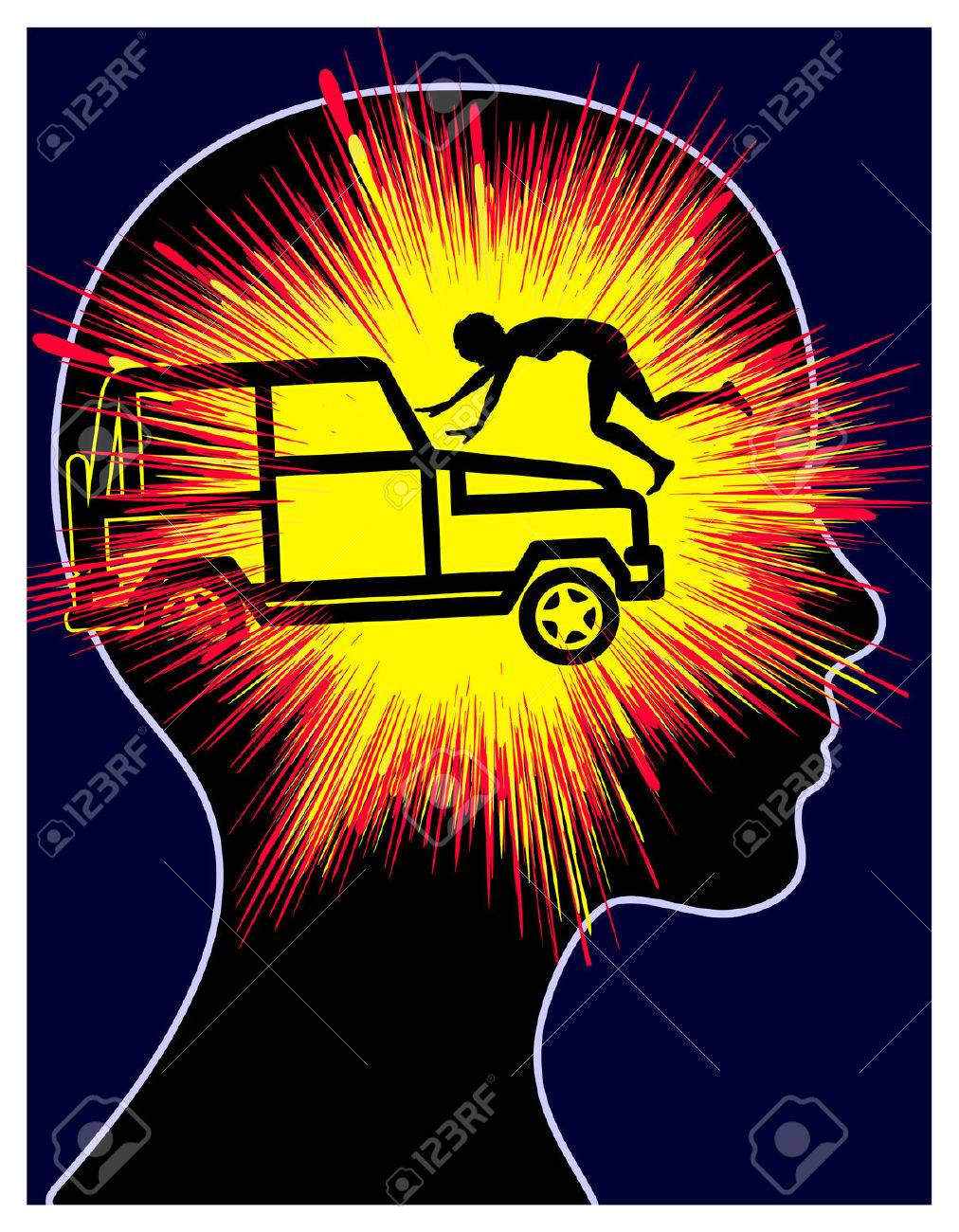 Post-traumatic Stress Reaction. Concept sign of a car accident trauma of woman - 52667744