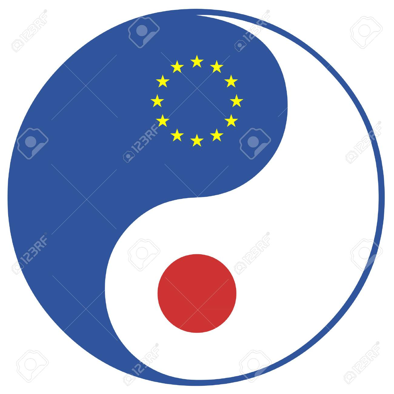 Eu And Japan Concept Sign For The Free Trade Agreement And Economic