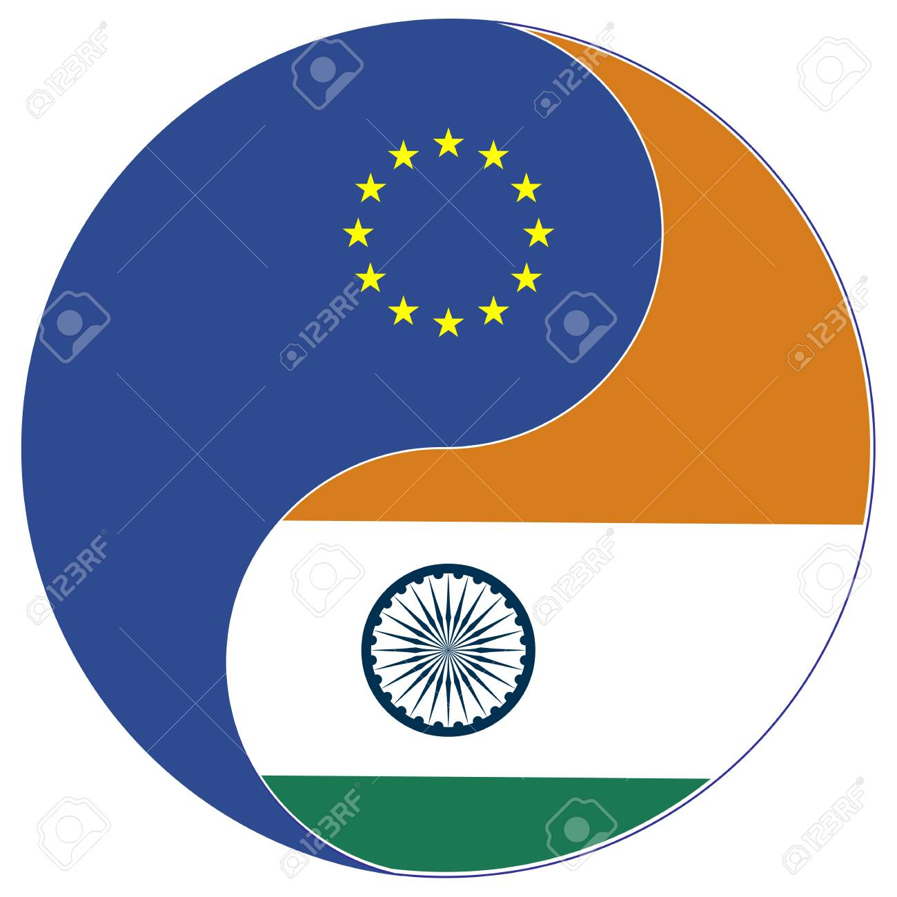 Eu India Trade Concept Symbol For The Free Trade Agreement And