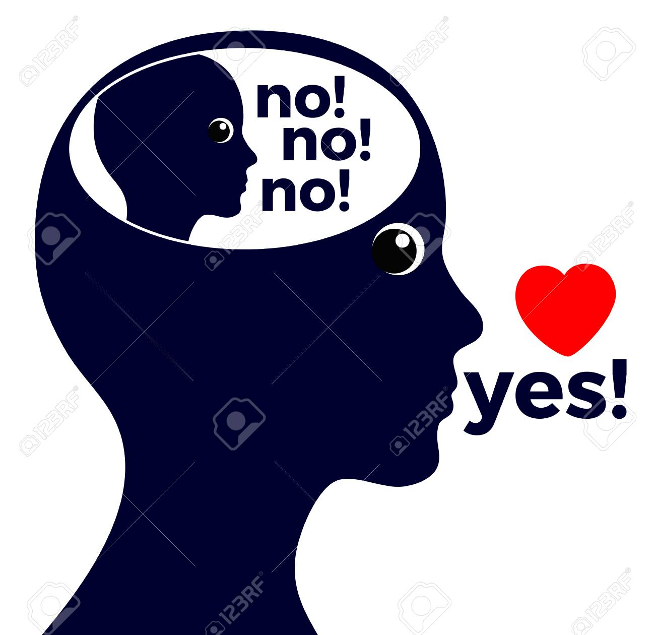 Self-deception or lying to oneself. Woman reads to herself, the inner voice says categorical no, but she actually means yes - 96296269
