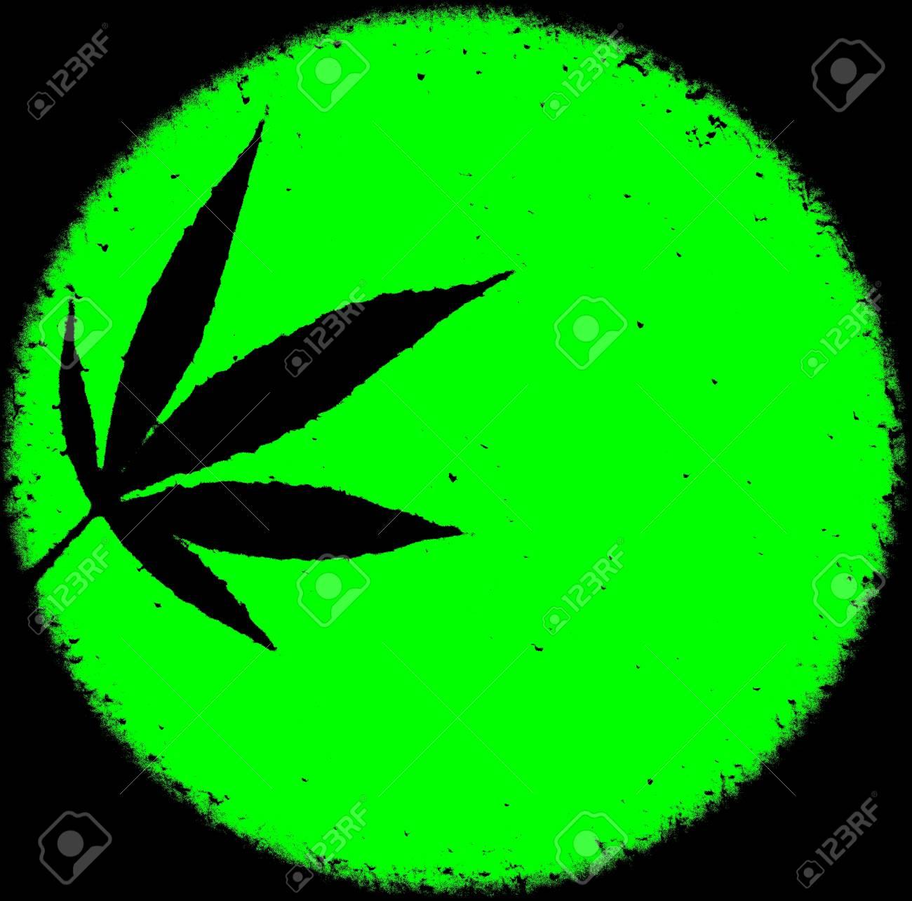 Neon Bright Green Marijuana Ganja Circle Grunge Messy Background